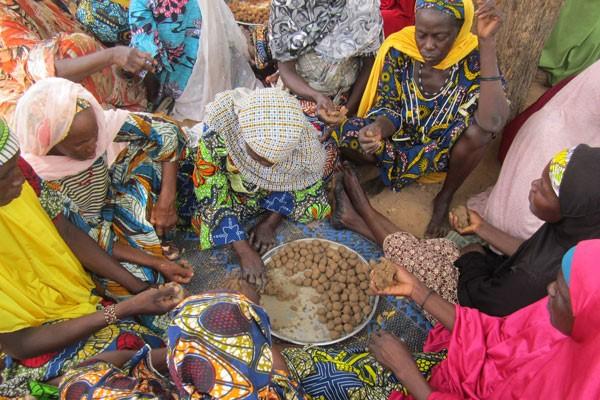 Figure 2. Women preparing millet seed balls