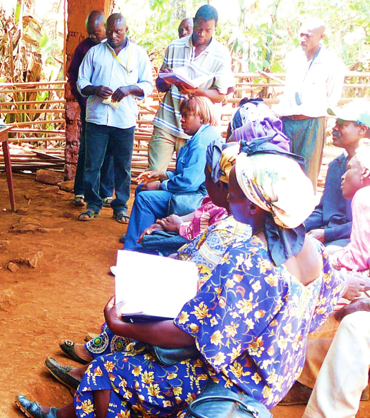 Figure 2: Farmers being taught about loans; © Roger Leakey